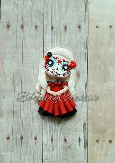 Polymer Clay Sugar Skull Beauty in Red Polymer Clay Halloween, Halloween Crafts, Polymer Clay Creations, Polymer Clay Jewelry, Sugar Skull Art, Air Dry Clay, Clay Charms, Clay Tutorials, Cold Porcelain