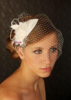 WEDDING BIRDCAGE VEIL Bridal Headpiece  vintage bird by klaxonek, $193.00