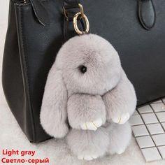 Rabbit Keychain 100% Genuine Bunny Key Chain Women Cute Trinket Rabbit Toy  Doll Bag Car 1875a315b