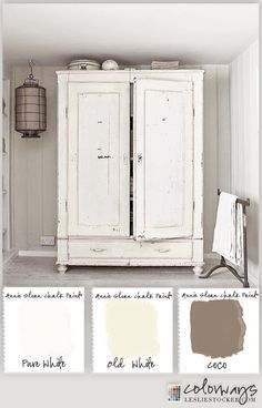 Colorways with Leslie Stocker » Warm White Armoire Annie Sloan Chalk Paint® Old White, Pure White, Coco