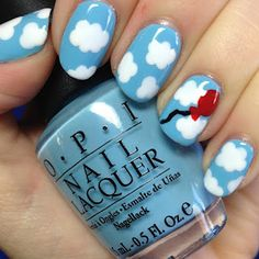 Day 34 - OPI What's With The Cattitude? with clouds and balloon nail art! | The Nail Trail