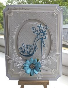 Pinner sees: Simple card today, my lovely tattered lace shoe die finally… Tattered Lace Cards, Spellbinders Cards, Embossed Cards, Heartfelt Creations, Pretty Cards, Flower Cards, Creative Cards, Greeting Cards Handmade, Scrapbook Cards