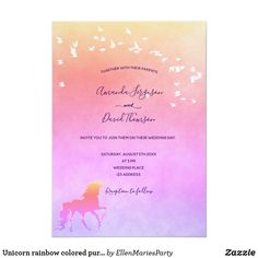 Unicorn rainbow colored purple pink golden wedding invitation