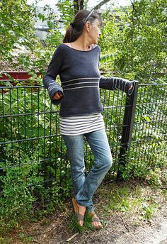 Cloud Stripe is a sweater that uses yarns to add interest, lightness and drape to its simple construction.
