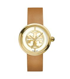 Reva Watch, Luggage Leather/Gold-Tone, 36 mm