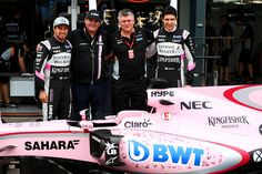 (L to R): Sergio Perez (MEX) Sahara Force India F1; Lutz Huebner, BWT Marketing Chief; Otmar Szafnauer (USA) Sahara Force India F1 Chief Operating Officer; and Esteban Ocon (FRA) Sahara Force India F1 Team. 24.03.2017. Formula 1 World Championship, Rd 1, Australian Grand Prix, Albert Park, Melbourne, Australia, Practice Day. - www.xpbimages.com, EMail: requests@xpbimages.com - copy of publication required for printed pictures. Every used picture is fee-liable. © Copyright: Batchelor / XPB…
