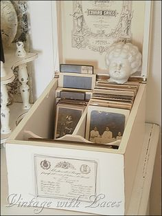 Box with vintage pictures - Studio Tour 2012 - Vintage with Laces