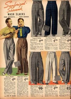 Trousers also spread farther up the waist, about 3 inches or so above the naval and hung down in long column like shapes. Pant legs cuffed at the bottom for more causal wear and were straight hemmed for more professional attire. A strong pressed pleat down the center completed the look. Most 1930s trousers were quite wide compared to today's slim fitting trend.