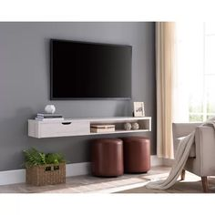 Ebern Designs Few Solid Wood Floating TV Stand for TVs up to Color: White Oa. - Ebern Designs Few Solid Wood Floating TV Stand for TVs up to Color: White Oak - Wall Mounted Entertainment Unit, Wall Mounted Tv Console, Pallet Entertainment Centers, Console Tv, Mounted Tv Decor, Entertainment Ideas, Floating Tv Shelf, Floating Tv Stand, Living Room Tv