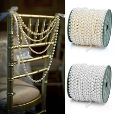 White / Ivory  Pearl Chains For Decorating Favors, Vases And Incorporating Into Centerpiece, Bouquet, And Pew Bow Arrangements