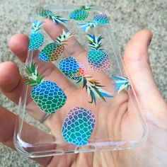 Turquoise Pineapple Print Clear iPhone Case – Izzy California