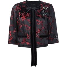 Marc Jacobs Cherry Blossom cropped jacket (51.180 RUB) ❤ liked on Polyvore featuring outerwear, jackets, black, pattern jacket, sequin jacket, floral jacket, velvet jacket and print jacket