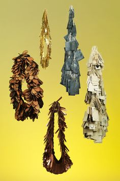 Soili Rautanen - Necklaces: Face it, 2014 Wood, copper, zink, brass, textile Photo: Ru Eklove  (HDK 2014)