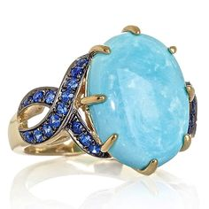 Michael Foutz, White Cloud Turquoise and Blue Sapphire Vermeil Ring