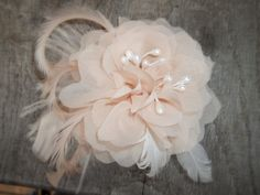 Ivory/Peach Bridal Fascinator,Pearl Stamens, Hair Clip, Bridal Wedding, Special Occasion