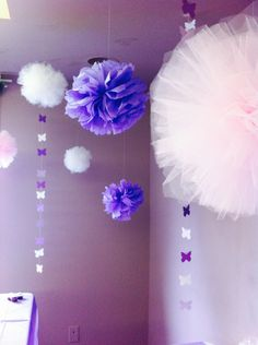 Little girl Baby Shower!!! Hanging butterflies we stitched together with cotton. Tool balls from Tori Spellings website!!! Try them out! #purplebabyshower #BabyShower #ToolBalls #Butterflies