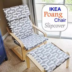 Make a brand new slipcover for your IKEA Poang Chair Cover! Here's a handy DIY by Stickleberry. Make a brand new slipcover for your IKEA Poang Chair Cover! Here's a handy DIY by Stickleberry. Ikea Poang Chair, Chaise Ikea, Diy Chair, Chair And Ottoman, Chair Cushions, Upholster Chair, Slipcover Chair, Diy Ottoman, Ottoman Tray