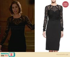Marisol's black lace illusion dress on Devious Maids Ana Ortiz, Devious Maids, Fashion Tv, Fashion Beauty, Fashion Outfits, Maid Outfit, Dark Brown Eyes, Olive Skin, Illusion Dress