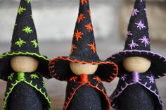 The Three Little Wooden and Wool Felt Witches are a wonderful toy and would be the perfect addition to an autumn nature table and for your Halloween storytelling.