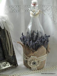 Landelijke Decoratiefles met Lavendel