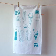 Items similar to Tea towel - Ice Cream Lollies - screenprinted in turquoise on Etsy Tea Towels, Printmaking, Screen Printing, Reusable Tote Bags, Turquoise, Cakes, Trending Outfits, Unique Jewelry, Handmade Gifts