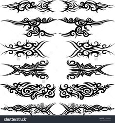 Maori tribal tattoo - Set of 6 different vector tribal tattoo in polynesian style by ZiaMary, via Shutterstock. Back Tribal Tattoo Hawaiianisches Tattoo, Band Tattoo, Tattoo Set, Body Art Tattoos, New Tattoos, Maori Tribal Tattoo, Tribal Tattoo Designs, Tattoo Online, Tribal Images
