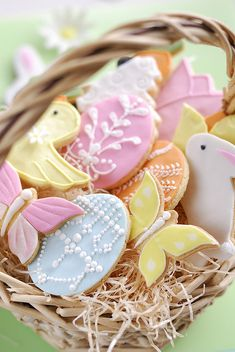 Incredibly pretty pastel hued Easter cookies. #cookies #food #Easter #decorated #cute #pastel #baking #dessert #party