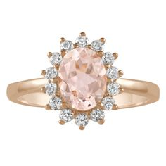 Morganite and Created White Sapphire Lady Di Ring in Rose Gold over Sterling Silver (6). Classic Lady Di design with an 8x6 mm oval morganite and created white sapphires. Morganite ranges from a pale pink to a peachy pink color. Gemstones and pearls are often treated to enhance their natural beauty. Mined gemstones are not identical. The composition and natural properties vary during its formation inside the earth. The product image may show some differences to the actual stone in color...