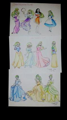 Some rough doodles of Disney Princesses as the Joker by Derae Rai . Fan art.