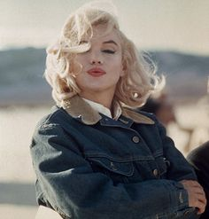 Unafraid to break a fashion rule, Monroe also explored the potential of double denim, her oversize Lee Storm Rider jacket (complete with a contrast corduroy collar) was borrowed from Montgomery Clift's wardrobe, and accessorised simply with tousled blonde hair or pigtails and lashing of black eyeliner – set against the vast desert expanse, the timeless and effortless costume allowed Monroe's beauty and radiance to shine through.