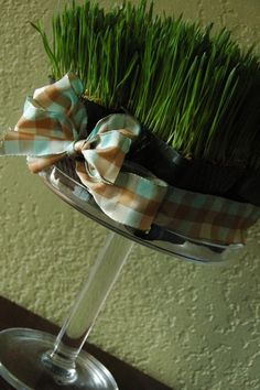 Easter or St. Pat's Day wheat grass centerpiece at reluctantentertainer.com