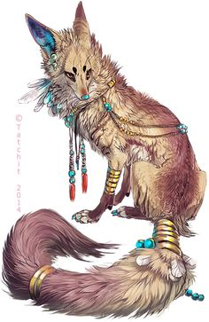 """Eesa"" by Tatchit.   This creature looks so cool! It looks a lot like a mixture of a wolf and a fox. Most of it screams fox to me except  the tail"