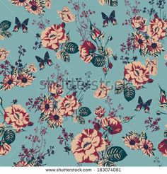Beautiful Vintage Seamless Roses Background with Butterflies  by Depiano, via Shutterstock