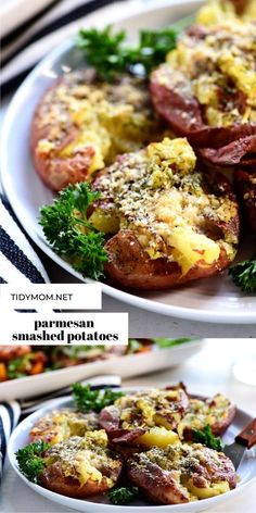 Incredible CHEESY PARMESAN SMASHED POTATOES go with everything, and never let me down. Keep your crew happy with this easy side dish for any weeknight dinner.They are picky eater approved! PRINTABLE RECIPE at TidyMom.net Best Side Dishes, Side Dish Recipes, Dinner Recipes, Fun Easy Recipes, Easy Meals, Delicious Recipes, Potato Recipes, Vegetable Recipes, Healthy Potatoes