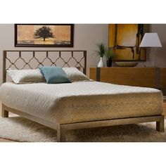 Honeycomb Gold Metal Headboard and Aura Gold Platform Bed | Overstock.com Shopping - The Best Deals on Beds