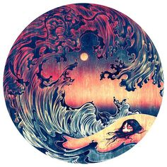 "James Jean Art  Wave (Buried), Archival Inkjet Print Mounted on Aluminum, 44""…"
