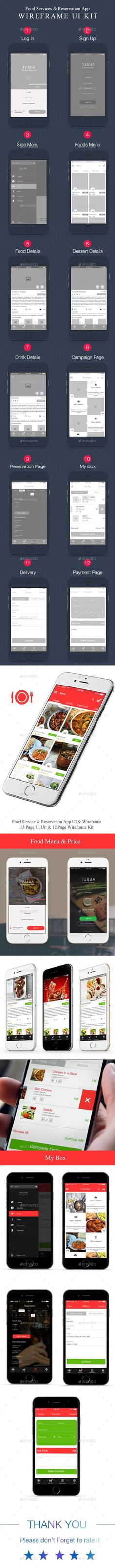 Food App User Interface & Wireframe Kit Template PSD #design #ui Download: http://graphicriver.net/item/food-app-ui-wireframe-kit/13305829?ref=ksioks. If you like UX, design, or design thinking, check out theuxblog.com