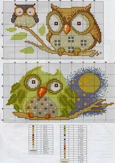 ru / Фото - From Magazines - Auroraten Cross Stitch Owl, Cross Stitch Animals, Cross Stitch Charts, Cross Stitch Designs, Cross Stitching, Cross Stitch Embroidery, Embroidery Patterns, Cross Stitch Patterns, Owl Patterns
