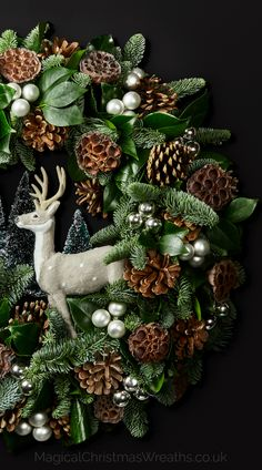 This Luxury Handcrafted Wreathscape Depicts A Majestic Deer Observing The Onset Of Winter Designed Around Backdrop Fresh Greens Golden Acorns