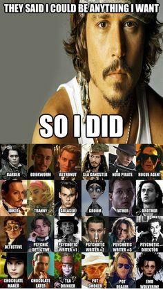 The many roles of Johnny Depp. And he is beautiful in all of them.