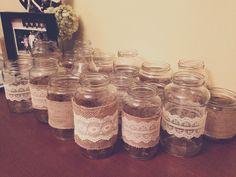 Repurposing jars for my niece's baptism #ragujars #picklejars #tostitojars #coconutoiljars #randomjars #burlap #lace #20jars @UnileverUSA