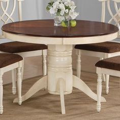 Cameron Cottage Two-Tone Round Pedestal Dining Table