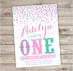 Confetti Birthday Printable Invitations Pink Purple Teal Simple Theme Party girl First Birthday Download pdf jpeg by cardmint on Etsy https://www.etsy.com/listing/226146307/confetti-birthday-printable-invitations