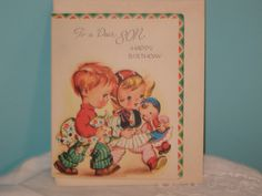 Son Birthday Card Unused 1950's Look Like by Thefabricofmylife