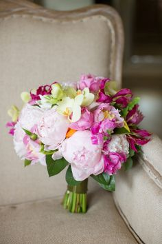 colorful peony and orchid bouquet by Southern Blooms