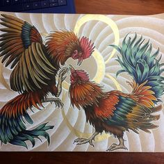 Year of the rooster finished piece. #copics #coloredpencil and #goldink  #zodiac #chinesenewyear #chinesezodiac #rooster #roosteryear #yearoftherooster #cockfight #chickens #artwork #illustration
