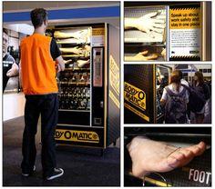 Una máquina expendedora de partes del cuerpo para concienciar sobre la seguridad en el trabajo