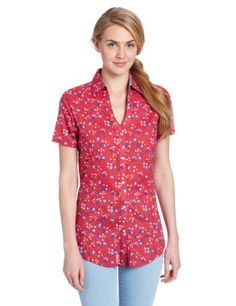 Wrangler Women's Short Sleeve Print Western Shirt, Red, Small at Amazon Women's Clothing store: Button Down Shirts