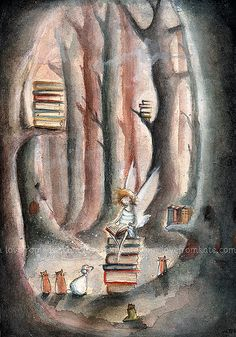 skeletales:    (by kate)    Books, cats, a magic wood.. should I ask something more?