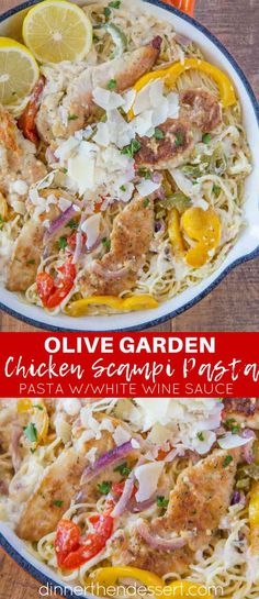 Olive Garden Chicken Scampi Pasta (Copycat) – Dinner, then Dessert Olive Garden Chicken Scampi Pasta copycat made with a creamy garlic white wine sauce with lemon, bell peppers and onions. Chicken Peppers And Onions, Chicken With Olives, Pasta With Peppers, Recipes With Peppers, Chicken White Wine Sauce, Garlic White Wine Sauce, Pasta Recipes, Chicken Recipes, Cooking Recipes